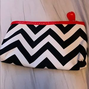 black and white and red makeup bag/pouch/purse